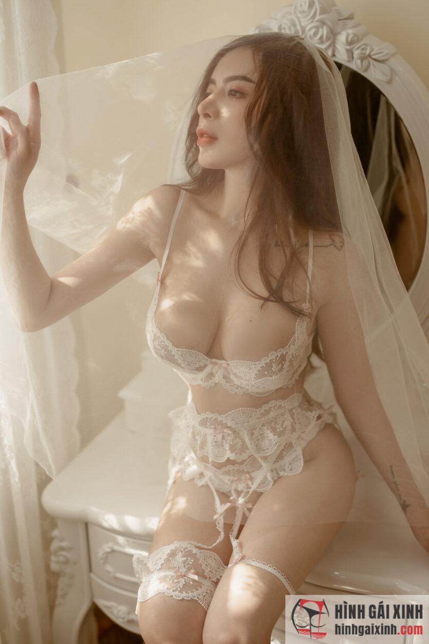 Album ảnh girl xinh mặc váy ngủ sexy, trắng nõn